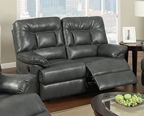 Power Motion Loveseat in Grey Bonded Leather by Poundex