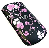Emartbuy® Pink Clover Premium PU Leather Pouch / Case / Sleeve / Holder ( Size X-Small ) With Pull Tab Mechanism Suitable For Sony Ericsson W302