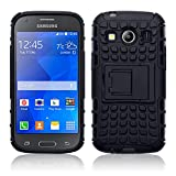 Coolest Gadgets® Samsung Galaxy Ace 4 (UK Model SM-G357FZ) Rugged Tough Armour Rubberised Hard Back Case - Black