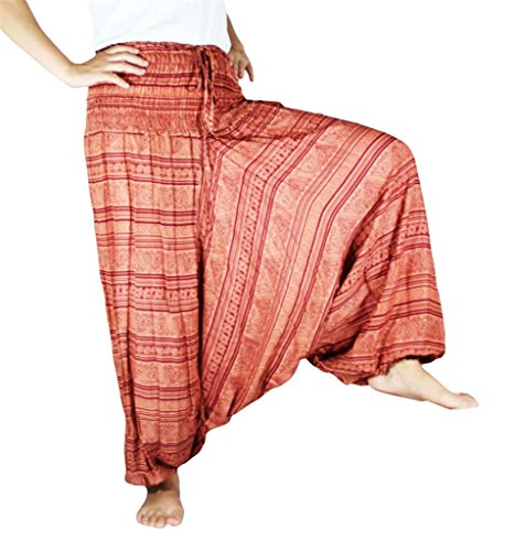 Authenticasia Women'S Phathai Printed Smocking Harem Pants Large Brick front-309361