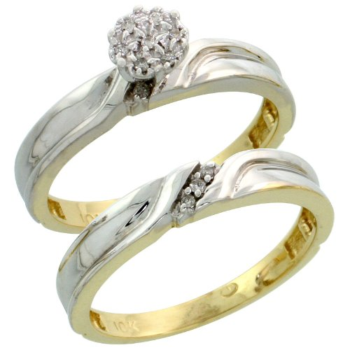 10k Gold 2-Piece Diamond Engagement Ring Set, w/ 0.07 Carat Brilliant Cut Diamonds, 1/8 in. (3.5mm) wide, Size 10
