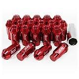 ホイールナット 20個セット P1.5 M12 アルミ製 ロング 袋型 レッド 赤