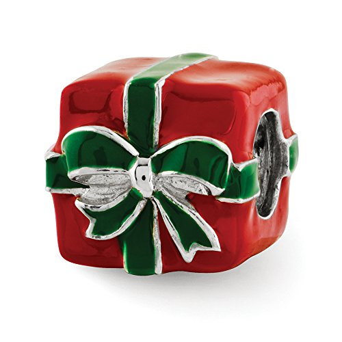 Green and Red Enameled Present Charm in Sterling Silver