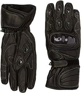 Protectwear WSG-101-SW-L Motorradhandschuh aus Leder mit Hartschalenknöchelschutz, Größe L, Schwarz