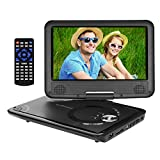 Portable DVD Player with 9 Inch Swivel Screen, 5 Hour Battery, USB/SD Slot, 5.9 ft Car charger & Power Adapter, AV Cable for TV, Ideal for Road / Plane Trips, Best Gift for Kids