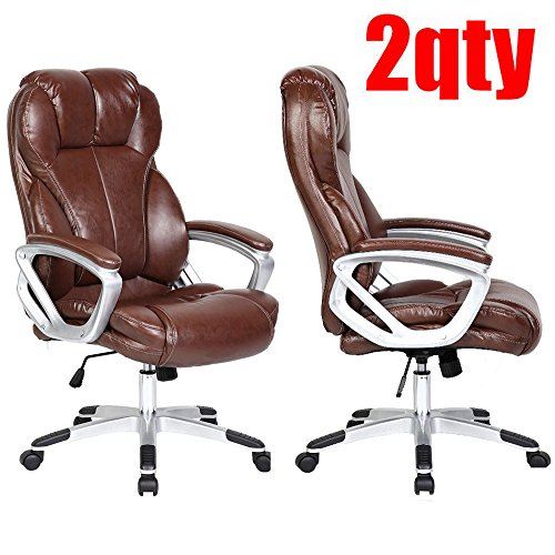 2xhome-set-of-two-2-brown-deluxe-professional-pu-leather-tall-and-big-ergonomic-office-high-back-cha