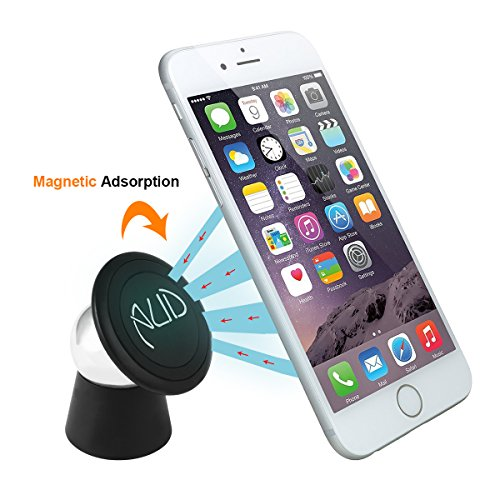 #1 Magnetic Cell Phone Holder by CNAUD - Mobile Phone Car Mount, Magnetic Stand-Creative Bracket - 360 Degrees Rotating Cradle Mount Kit, Dashboard Cell Phone Holder and GPS, Fits All Cell Phones (Black)