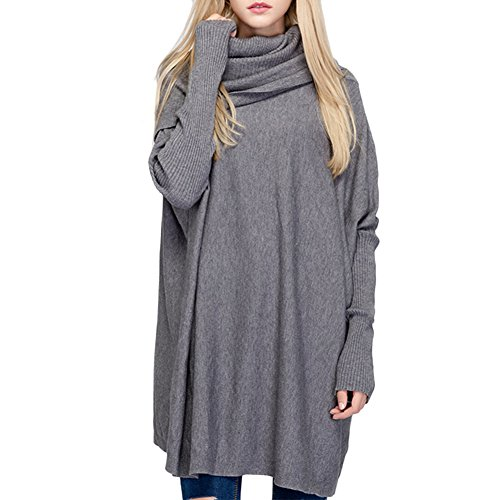 Ashlen Women's Fitted Long Sleeve Cowl Neck Oversize Knit Sweater Grey (Knit Cowl Poncho compare prices)