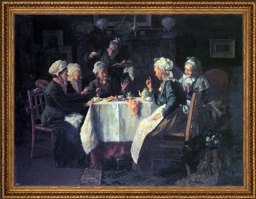 "Louis C Moeller The Tea Party - 21"" X 28"" Framed Premium Canvas Print"