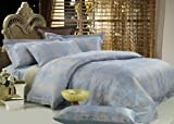Dolce Mela DM448Q Fountain-Blue 6-Piece Percale Jacquard Cotton Duvet Cover Set, Queen