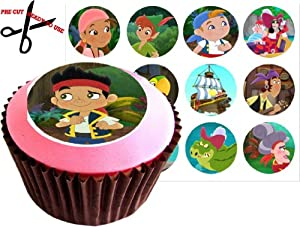 12 JAKE & THE NEVERLAND PIRATES 38mm (1.5 Inch) PRE-CUT Cake Toppers Edible Rice Paper Cupcake Decoration 160