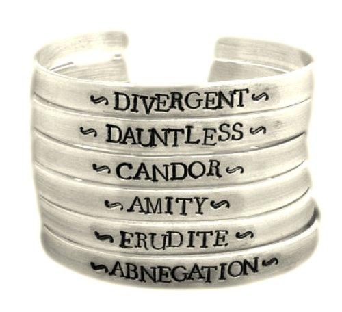 Divergent Inspired - Faction (Choose One) - Divergent, Dauntless, Abnegation, Amity, Candor or Erudite - A Hand Stamped Aluminum Bracelet