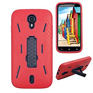 Premium Rugged Heavy Duty Drop Proof Case With Kickstand For BLU Studio 6.0 HD D650a (it doesn't fit BLU Studio 6.0 LTE Y650Q)-RED