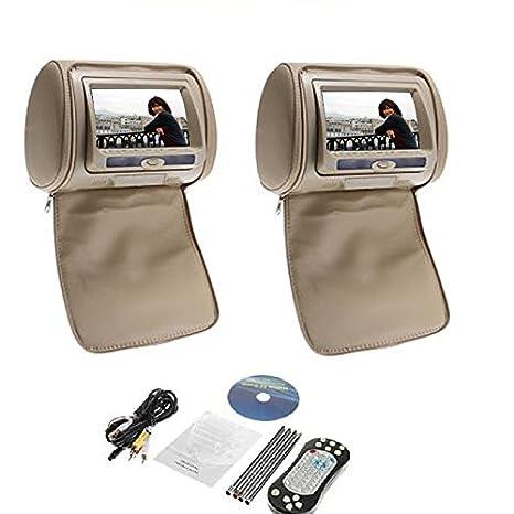 """Deux jeux de transmetteur IR 7 """"HD voiture moniteur appuie-tête Lecteur DVD Oreiller USB SD FM IR, Transmetteur FM, Jeux avec télécommande"""
