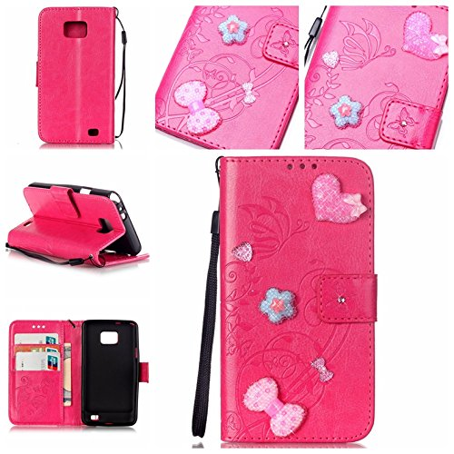 Coque Etui pour Galaxy S2 i9100 ,Galaxy S2 i9100 Cuir Portefeuille Coque Housse,Galaxy S2 i9100 Wallet Case Cover Leather,Cozy Hut Etui de protection