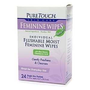 Individual feminine wipes