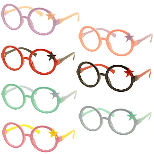Set of 7 FancyG® Royal Star Kids Retro Classic Style Star Fashion Round Glass Frame Kids Size 3-12 NO LENSES Set