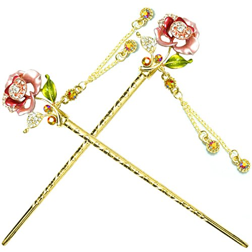 YOY Fashion Hair Decor Chinese Traditional Style Hair Sticks Shawl Pins Picks Pics Forks for Women Girls Hair Accessory 6-inch with Enamel Flower Set of 2, Pink (Cheer Bows One Direction compare prices)