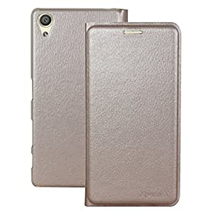 Heartly Premium Luxury PU Leather Flip Case Cover With Card Slot For Sony Xperia X Dual F5122 - Hot Gold