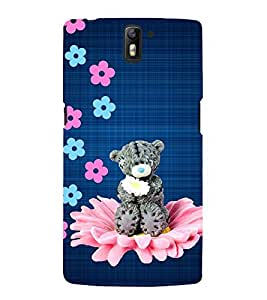 GREY TEDDY BEAR ON A FLORAL SEAT 3D Hard Polycarbonate Designer Back Case Cover for One Plus One :: One Plus1 :: OnePlus One