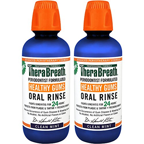 TheraBreath Dentist Recommended PerioTherapy HEALTHY GUMS Oral Rinse with ZINC and TEA TREE OIL. CER