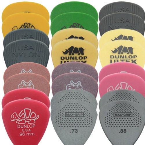 Dunlop media 24-Plettri da chitarra, confezione assortita, plettro, Nylon, Ultex,, Gator, Delrin & Max Grip, 2 per tipo In una comoda scatola di latta da Dirty i suoi tipici riff