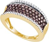 Men's or Women's White and Brown Diamond 0.79CTW 10K Yellow Gold Wedding Band GND71234
