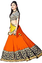 Vibes Women Georgette Lehenga Choli (L12-18006 _Orange _Free Size)