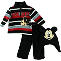 "Disney Mickey Mouse ""Mickey"" Infant 3 Piece Zipper Top, Hat & Pant Set (12M)"