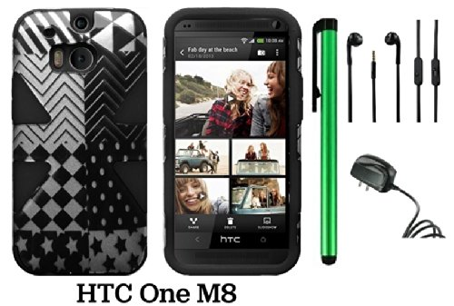 Htc One (M8) Dynamic Slim Hybrid Premium Pretty Design Protector Cover Case + Travel (Wall0 Charger + 1 Random Color Universal Handsfree Headset 3.5Mm Stereo Earphones + 1 Of New Assorted Color Metal Stylus Touch Screen Pen (Checkered Star Plastic / Black