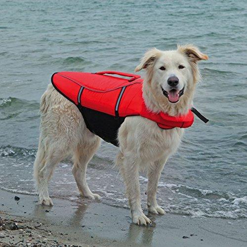 wangado Giubbotto salvagente per cani da usare per giri in barca e giochi in acqua, ottima vestibilità e posizione salda, con maniglia e strisce riflettenti