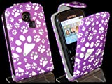 Goldstar Samsung Ch@t335 Chat S3350 Purple Paw, Dog Footprint PU Leather Flower Flip Case Cover