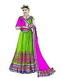 DesiButik's Wedding Wear Ravishing Green Net Lehenga