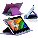 Navitech Purple Faux Leather Case Cover With Multi Stand For The Acer Iconia A3