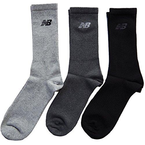 (NEW BALANCE)ニューバランス メンズクルーソックス アメリブ 紳士ニューバランスロゴソックス ミドル丈靴下 25cm~27cm 3足組 白 黒 灰