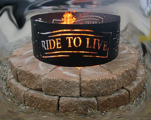 Live to Ride Metal Fire Ring 'V-Twin Man Cave Collection' Made in the USA, Harley, Motorcycle