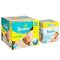 Pampers Swaddlers Diapers Size 5 Economy Pack Plus 124 Count and Pampers Sensitive Wipes, 7x Box, 448 Count Bundle