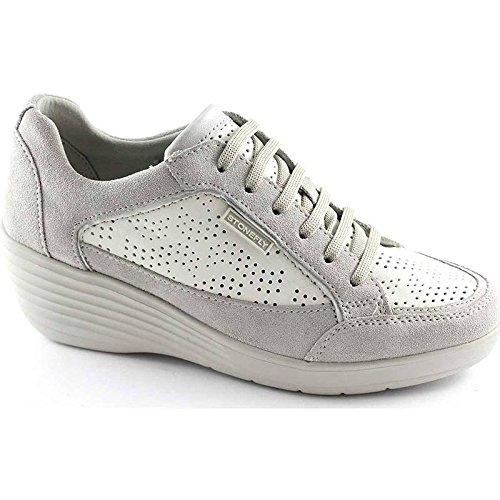 STONEFLY 106185 bianco scarpe donna sneaker forate lacci zeppetta comfort 39