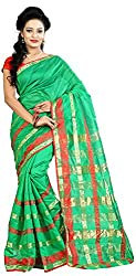 MADEII E-commerce Women's Cotton Saree with Blouse Piece (Green)