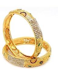 ESHOPITUDE MEENAKARI CZ AMERICAN DIAMOND YELLOW GOLD PLATED BANGLES SET FOR RAKHI FESTIVAL GIFT FOR WOMENS SIZE...