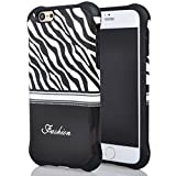 Iphone 6 Case, Meaci® Cell Phone Case for Iphone 6 (4.7 Inch) Case 2 in 1 Combo Hybrid Hard Pc & Rubber Case Dual Layer Bumper with Smooth Exquisite Zebra Pattern Protective Case - Black Rubber