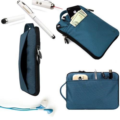 Visual Land Accessories From Vangoddy Offers Our Exclusive Hydei Padded Protective Carrying Case Cover In Sapphire **Fits The Visual Land Connect** + Blue Noise Cancelling Visual Land Connect Compatible Ear Buds + 3 In 1 Capacitive Tipped Stylus (Led Flas