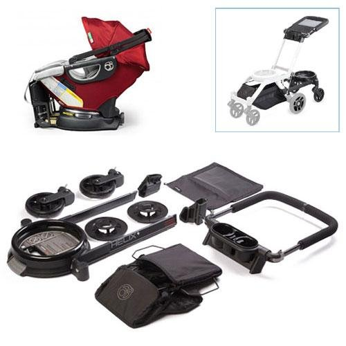 Orbit Baby Helix Plus Stroller Travel Upgrade Kit With Infant Car Seat In Ruby Slate front-290906