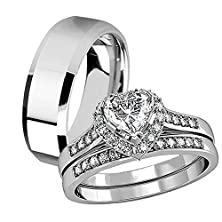 buy His Hers 3 Pcs Tungsten Matching Band Women Heart Cut Sterling Silver Wedding Engagement Ring Set
