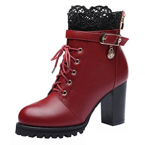 Passionow Women's Elegant Block Heel Lace Rhinestone Side-Zipper Ankle Short Booties (5.5 B(M)US,red)