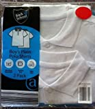 Boys Pack Of 2 School White Short Sleeve 100 % Cotton Polo Shirt Uniform 10-11 Years