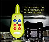 GROOVYPETS® One Dog Remote Dog Training Shock Collar: Remote with Belt-clip,ON/OFF Switch to Send Separate Shock and Vibration Corrections for Humane Bark Control and Behavioral Training, Adjustable Collar Fits All Dog Sizes