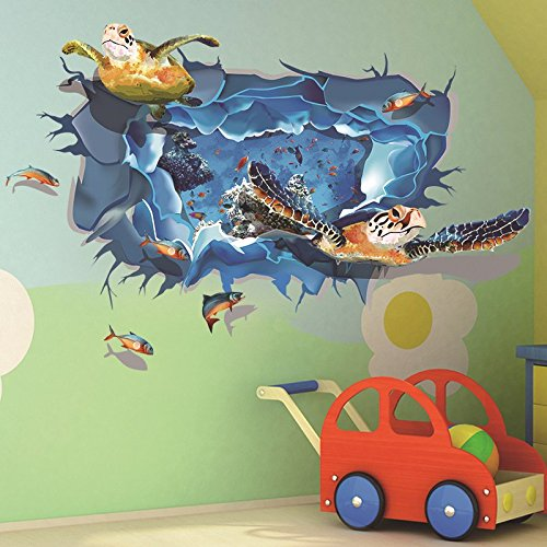 Amaonma Removable Home Art Decor 3d Under Ocean Sea Through The Wall Wall Sticker Mural Waterproof Decals For Kids Girls Bedroom Living Room Nursery Rooms Classroom Background Wall Stickers Murals,Hemingway Home Key West Florida