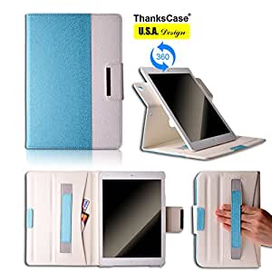 Thankscase iPad Air Rotating Case Cover (Not Fit iPad Air 2) with Wallet and Pocket with Hand Strap with Smart Cover Function for iPad Air iPad 5. (Teal Blue)