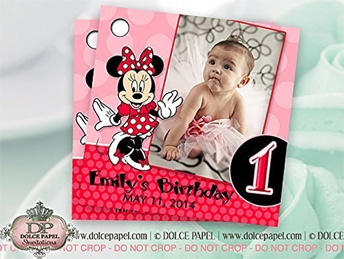 10 Red and Pink Minnie Mouse Custom Photo Birthday Party Favor Tags (Minnie Mouse Custom Invitations compare prices)